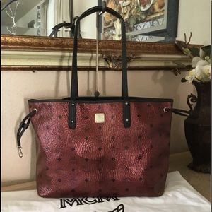 MCM Metallic Visetos Medium Red Shoper Tote